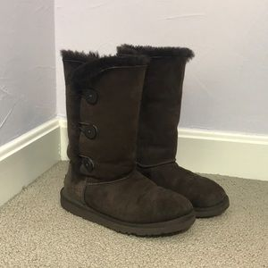 UGG Triple Button Chocolate Brown Boot